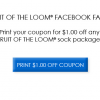 $1 Off Coupon For Fruit of the Loom Socks