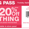 20% Off Kohl's Shopping Pass Through 9/11