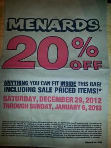 Menard's 20% Off Sale